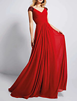 cheap -A-Line Elegant Red Engagement Formal Evening Dress V Neck Sleeveless Sweep / Brush Train Chiffon with Crystals Sequin 2020
