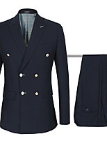 cheap -Tuxedos Standard Fit Peak Double Breasted Six-buttons Wool Solid Color