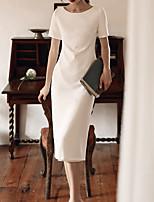 cheap -Sheath / Column Jewel Neck Knee Length Spandex / Satin Minimalist / White Graduation / Cocktail Party Dress with Bow(s) 2020