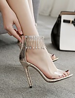 cheap -Women's Sandals Stiletto Heel Pointed Toe PU Summer Gold / Black