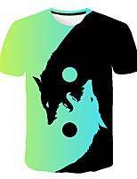 cheap -Kids Boys' Basic Street chic Wolf Color Block 3D Animal Print Short Sleeve Tee Rainbow