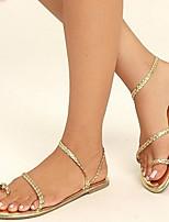 cheap -Women's Sandals Flat Heel Round Toe PU Spring & Summer Gold / White / Black