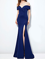 cheap -Mermaid / Trumpet Elegant Blue Engagement Formal Evening Dress Off Shoulder Short Sleeve Sweep / Brush Train Polyester with Split 2020