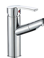 cheap -Bathroom Sink Faucet - Pullout Spray / Widespread Electroplated Centerset Single Handle One HoleBath Taps