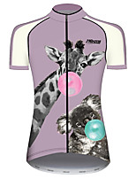 cheap -21Grams Women's Short Sleeve Cycling Jersey 100% Polyester Violet Animal Deer Bike Jersey Top Mountain Bike MTB Road Bike Cycling UV Resistant Breathable Quick Dry Sports Clothing Apparel / Stretchy