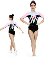 cheap -Rhythmic Gymnastics Leotards Artistic Gymnastics Leotards Women's Girls' Kids Leotard Spandex High Elasticity Handmade Half Sleeve Competition Dance Rhythmic Gymnastics Artistic Gymnastics Black