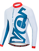 cheap -EVERVOLVE Men's Long Sleeve Cycling Jersey Terylene White Geometic Bike Jersey Top Mountain Bike MTB Road Bike Cycling Breathable Quick Dry Sweat-wicking Sports Clothing Apparel / Stretchy