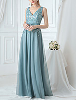 cheap -A-Line V Neck Floor Length Polyester / Lace / Tulle Floral / Turquoise / Teal Prom / Wedding Guest Dress with Appliques / Embroidery 2020