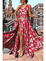 cheap -Women's Swing Dress - Print Red Maxi S M L XL
