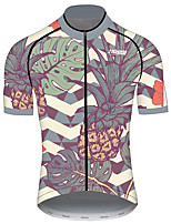 cheap -21Grams Men's Short Sleeve Cycling Jersey 100% Polyester Forest Green Tropical Flowers Bike Jersey Top Mountain Bike MTB Road Bike Cycling UV Resistant Breathable Quick Dry Sports Clothing Apparel
