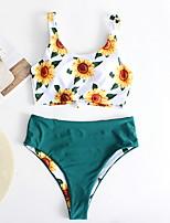 cheap -Women's Orange Green White Tankini Swimwear Swimsuit - Floral S M L Orange