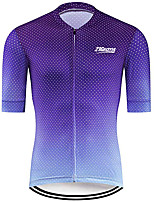 cheap -21Grams Men's Short Sleeve Cycling Jersey 100% Polyester Blue Polka Dot Gradient Bike Jersey Top Mountain Bike MTB Road Bike Cycling UV Resistant Breathable Quick Dry Sports Clothing Apparel