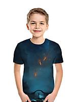 cheap -Kids Boys' Active Street chic Print Patchwork Print Short Sleeve Tee Royal Blue