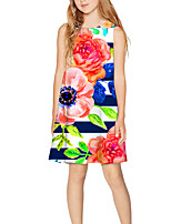 cheap -Kids Girls' Basic Cute Floral Print Sleeveless Above Knee Dress Rainbow
