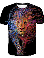 cheap -Kids Boys' Basic Street chic Tiger Color Block 3D Rainbow Print Short Sleeve Tee Rainbow