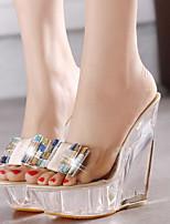Недорогие -Жен. Обувь на каблуках Каблук с хрустальной отделкой Открытый мыс Полиуретан Лето Миндальный / Розовый