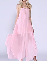 cheap -Women's Maxi Blushing Pink Dress Sheath Solid Color Strap S M