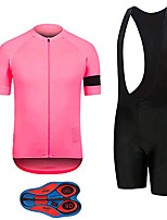 cheap -21Grams Men's Short Sleeve Cycling Jersey with Bib Shorts Pink / Black Bike Clothing Suit UV Resistant Breathable 3D Pad Quick Dry Sweat-wicking Sports Solid Color Mountain Bike MTB Road Bike Cycling