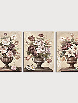 cheap -Print Art Canvas Painting Flowers in Vase set of 3 Classical Prints with Stretcher Home Decoration