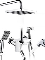 cheap -Shower System Set - Handshower Included Rainfall Contemporary Electroplated Wall Installation Ceramic Valve Bath Shower Mixer Taps