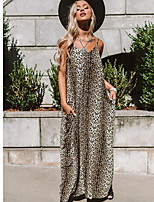 cheap -Women's Maxi Brown Gray Dress Tunic Leopard Strap S M