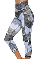 cheap -Women's High Waist Yoga Pants Color Block Blue / White Running Fitness Gym Workout 3/4 Capri Pants Bottoms Sport Activewear Soft Butt Lift Tummy Control Stretchy