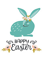 cheap -Easter Rabbit / Flowers Wall Stickers Plane Wall Stickers Decorative Wall Stickers PVC Home Decoration Wall Decal Wall / Window Decoration 1pc