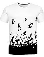 Недорогие -Дети Мальчики Классический Уличный стиль Черное и белое Контрастных цветов 3D Радужный С принтом С короткими рукавами Футболка Белый