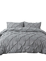 cheap -Duvet Cover Sets 3 Piece Linen / Cotton Solid Colored Black Pleated Simple