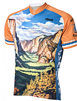 cheap -21Grams Men's Short Sleeve Cycling Jersey 100% Polyester Orange+White Bike Jersey Top Mountain Bike MTB Road Bike Cycling UV Resistant Breathable Quick Dry Sports Clothing Apparel / Stretchy