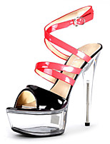 cheap -Women's Sandals Cone Heel Peep Toe Crystal / Buckle PU Classic / Chinoiserie Summer Black / Red / Clear / Red / Party & Evening / Color Block