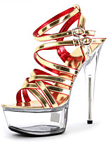 cheap -Women's Sandals Cone Heel Peep Toe Crystal / Buckle PU Classic / Vintage Summer Gold / Black / Party & Evening / Color Block