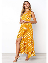 cheap -Women's A Line Dress - Polka Maxi Dot Yellow Blue S M L XL