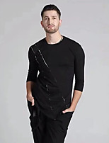 cheap -Latin Dance Tops Men's Performance Modal Ruching Long Sleeve Top