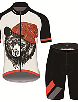 cheap -21Grams Men's Short Sleeve Cycling Jersey with Shorts Black / White Animal Bike UV Resistant Quick Dry Sports Patterned Mountain Bike MTB Road Bike Cycling Clothing Apparel / Stretchy