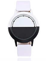 cheap -Men and Women Sport Watch Quartz PU Leather Black / White Chronograph New Design Cool Analog Outdoor New Arrival - Black White One Year Battery Life