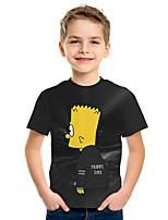 Недорогие -Дети Мальчики Активный Уличный стиль 3D С принтом С короткими рукавами Футболка Черный
