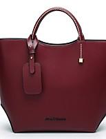 cheap -Women's Zipper PU Top Handle Bag Solid Color Dark Red
