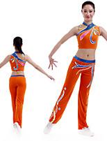 cheap -Cheerleader Costume Gymnastics Suits Women's Girls' Kids Pants / Trousers Spandex High Elasticity Handmade Sleeveless Competition Dance Rhythmic Gymnastics Gymnastics Orange