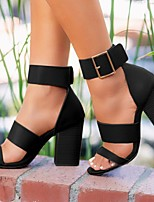 cheap -Women's Sandals Chunky Heel Round Toe PU Summer Black / Brown / White