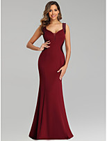 cheap -Mermaid / Trumpet V Neck Floor Length Polyester Minimalist / Red Engagement / Formal Evening Dress with Sequin 2020