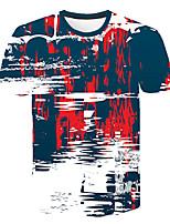 Недорогие -Дети Мальчики Классический Уличный стиль Контрастных цветов 3D С принтом С короткими рукавами Футболка Цвет радуги
