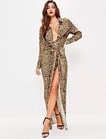 cheap -Women's Sheath Dress - Leopard Yellow S M L XL
