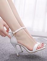 cheap -Women's Wedding Shoes Stiletto Heel Peep Toe Buckle Crocodile Sweet / Minimalism Fall / Spring & Summer White