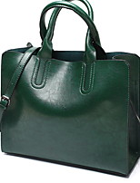 cheap -Women's Zipper Leather Top Handle Bag Solid Color Wine / Green / Black