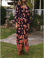 cheap -Women's Maxi Yellow Red Dress A Line Floral S M
