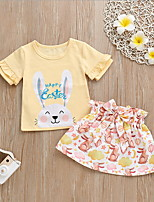 cheap -Baby Girls' Basic Easter Rabbit Geometric Short Sleeve Regular Clothing Set Yellow / Toddler