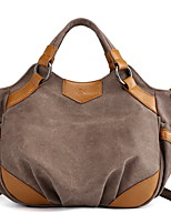 cheap -Women's Zipper Canvas Top Handle Bag Solid Color Dark Coffee / Blue / Brown