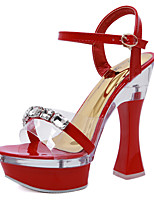cheap -Women's Sandals Chunky Heel Round Toe Rhinestone / Buckle PU Classic Summer Black / White / Red / Party & Evening