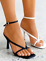 cheap -Women's Sandals Stiletto Heel Open Toe Buckle PU Business / Sweet Spring &  Fall / Spring & Summer Black / White / Blue / Party & Evening